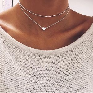 Minimalist Silver Double Layer Heart Choker